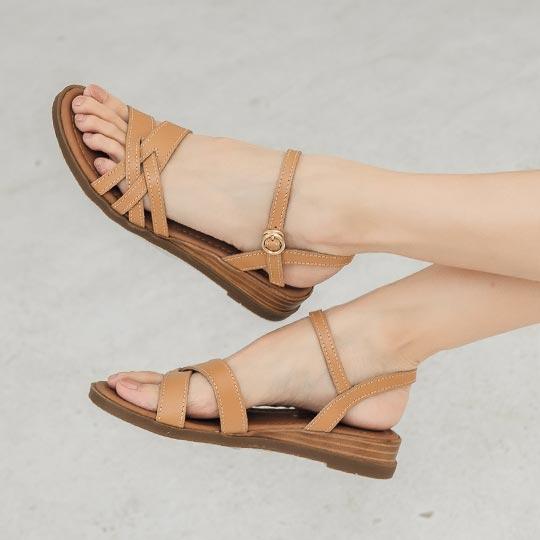 MIT真皮簡約低跟楔形涼鞋100419 - 迷人咖, 35 全館商品 新品   new in 06   2021 涼鞋   Sandals 楔型涼鞋 主題   topic MIT手工鞋