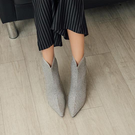時尚閃鑽襪套高跟短靴300366,高跟短靴,襪套短靴,短靴,閃鑽短靴,派對短靴,系跟短靴,時尚短靴
