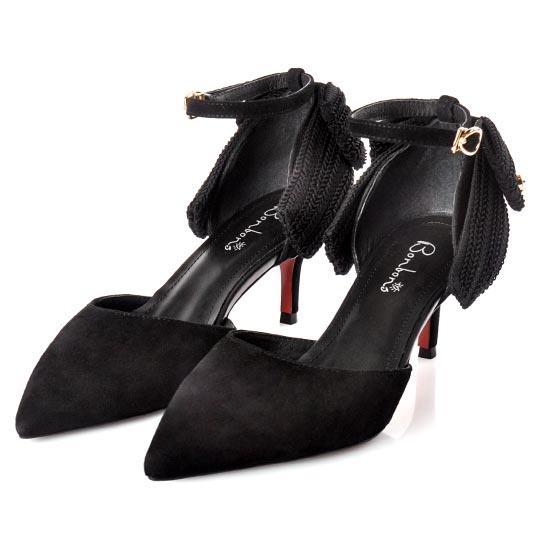 真羊麂皮優雅名媛針織蝴蝶結中跟鞋100274 新品上市 ALL 全部商品 現貨專區 快速出貨