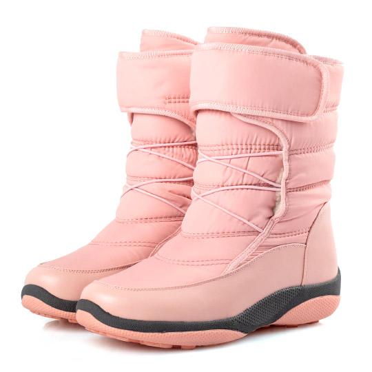 防潑水羽絨布魔鬼氈太空靴 / 雪靴 300155 - 甜美粉, 37 ALL 全部商品|本館必買|大尺碼女鞋|靴子|中筒靴/中靴|雪靴