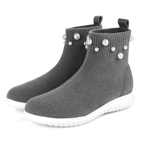 毛呢x珍珠 針織襪套超輕量短靴300256 ALL 全部商品 本館必買 大尺碼女鞋 現貨專區 快速出貨 現貨短/長靴 靴子 踝/短靴