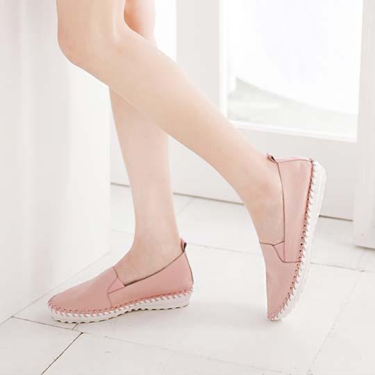 全真皮編織質感百搭素面休閒鞋100129,真皮,懶人鞋,小白鞋,休閒鞋,平底鞋