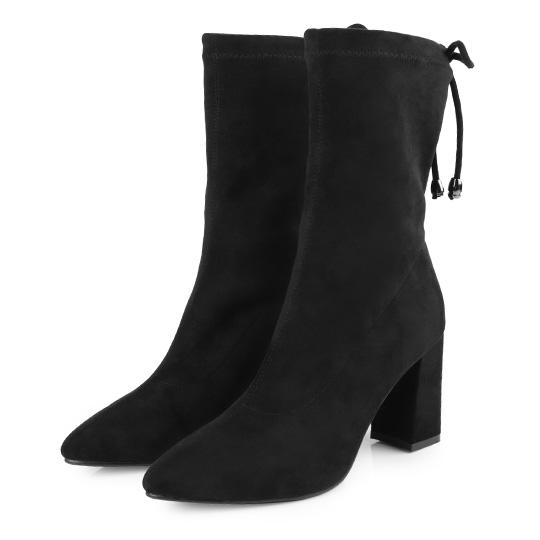 麂皮質感彈性布貼腿高跟襪靴400199 ALL 全部商品|高跟鞋|粗跟高跟鞋|現貨專區|快速出貨|靴子|中筒靴/中靴